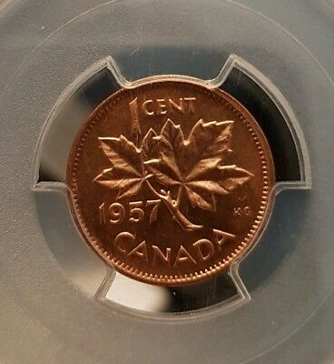 1957 Canada 1 cent penny PCGS MS 66 RED! Trends $125