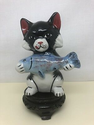 Lorna Bailey Figurine Charlie The Cat Catch Of The Day Signed By Lorna Bailey