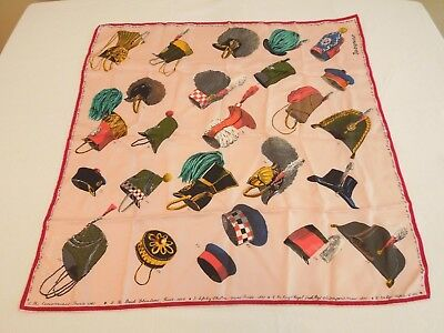 """Jacqmar Vintage Large Square Silk Scarf Square Military Hats 29"""" Novelty Print"""