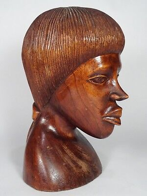 AFRICAN, Native,Tribal, Exotic Wood Carving, Sculpture, Woman, Head, Bust