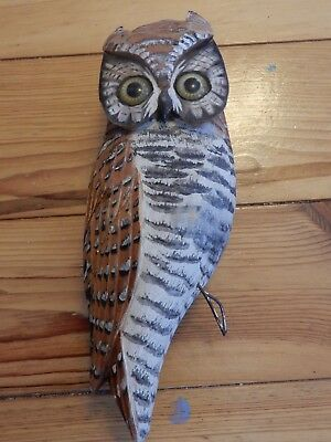 """Hand carved and Hand Painted wood owl 12"""" tall"""