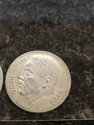 Adolf Hitler SILVER Europe Coin Germany  Old Antique Money Eagle 1938