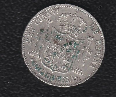 Spain 50 Cents 1885 Silver