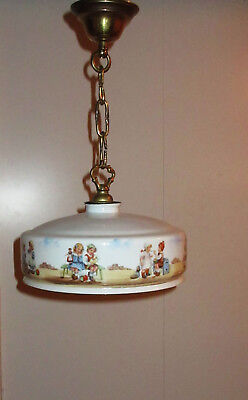 Lovely old chandelier Opaline Glass with painted children Very pretty age1925-40