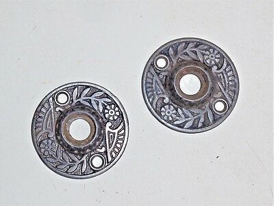 2 Antique Victorian Eastlake Door Plate Escutcheon Rosette Backplates Cast Iron