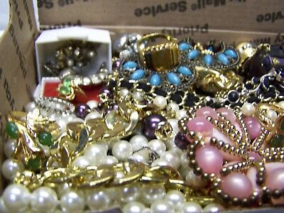 Vintage - Now Jewelry Lot Estate Junk Drawer Brooches, Rings Necklaces, More #60