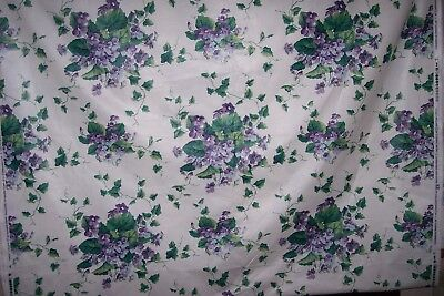 Vintage Waverly Chintz Floral 5 Yds. Fabric Sweet Violets Purple Unused 180 X 55
