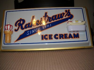 Vintage Rakestraws Lighted Ice Cream Sign In Very Good Condition Rarely Seen