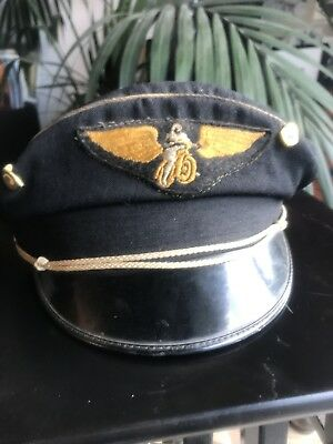 9562b5305 VINTAGE BUCO MOTORCYCLE Road Captain Hat Cap 50s Biker Leather AMA Pins  Harley