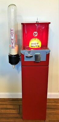 Nice Vintage 5 Cent Hot Nut Vending Machine w/Stand & Glass Dixie Cup Dispenser