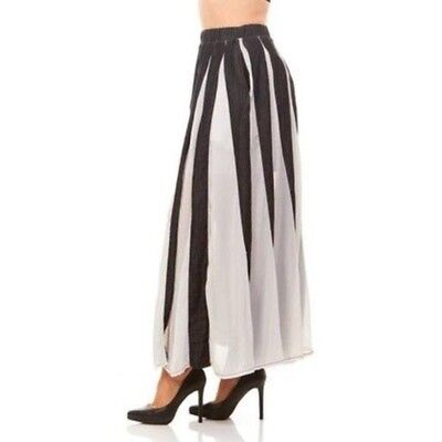Women's Black White Vertical Striped Full Long Maxi Skirt Large New