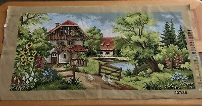 Vintage Needlepoint Canvas 437/35 By White Rose Designs Landscape 17x35 Inches
