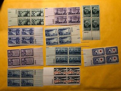 10 USA 3c Plate Blocks, Scott 1007, 1011-1016, 1085, 1106-1107 (40 Stamps)