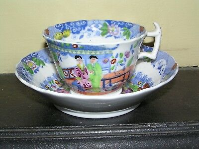 19th century Staffordshire Chinese Scenes porcelain Cup and deep Saucer
