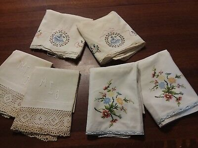 Lot Of Six Vintage Matched Sets Pillowcases Feedsack And Tubing Embroidered