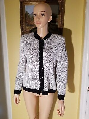 St. John By Marie Gray Santana Knit Black And White Textured Suit Jacket,size10