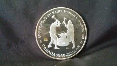 1988 Proof Silver Dollar - Les Forges Du Saint Maurice Ironworks - Coin Only