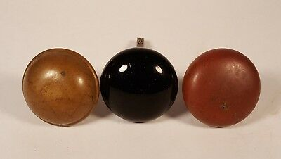 Vintage Door Knobs - Lot of 3 - 1 Black Glass with Stem 2 Brass/Copper No Stems