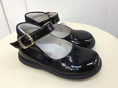 Little Girls BLACK PATENT Ankle Mary Janes 22 Shoes 6-6.5 Classic PRIMING Italy