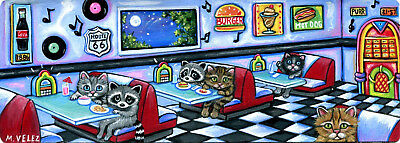 Raccoon Kitten 50's Diner Route 66 Juke Box Music Double ACEO Painting Print
