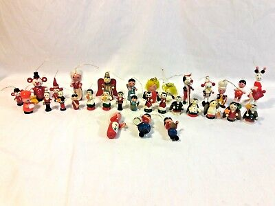 Lot of 30 vintage Wooden CHRISTMAS ORNAMENTS