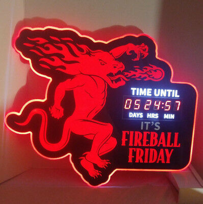 """Fireball Whisky LED Lighted Countdown Sign """"TIME UNTIL ITS FIREBALL FRIDAY"""" 120v"""