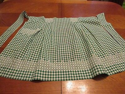 Vintage Handmade Apron - Green & White Plaid Gingham