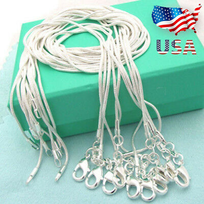 "Lots 10PCS 925 Sterling Solid Silver 1mm Snake Chain Necklace Size 16""-28"" US"
