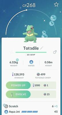 Pokemon Go Shiny Totodile Trade - Not registered in pokedex allowed