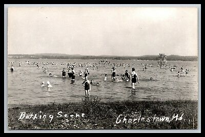 Uncommon Charlestown Maryland Beach Scene Diving Board Rppc, Bathers, Cecil Co