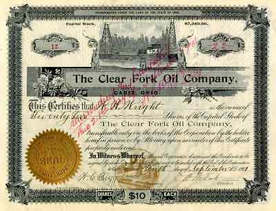 1907 Clear Fork Oil Co Stock Certificate