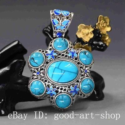 Chinese Handmade Copper Cloisonne Inlaid Turquoise Pendant 037
