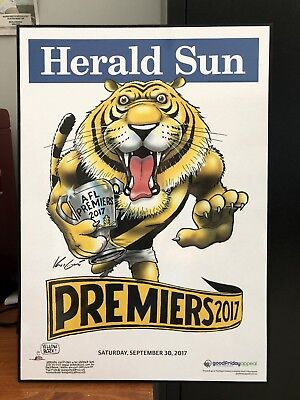 Richmond AFL 2017 Premiers Mark Knight Poster Block Mounted
