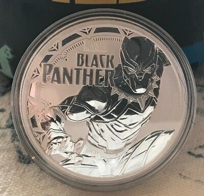2018 Tuvalu Black Panther 1 oz Silver Marvel Series BU Coin in Cap