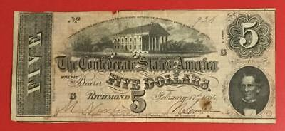 1864 $5 US Confederate States of America! Old US Paper MOney Currency!