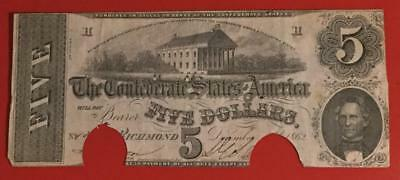 1862 $5 US Confederate States of America! Old US Paper Money Currency