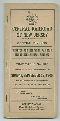 CNJ Central Railroad of New Jersey Employee Time Table September 29, 1946 No.130