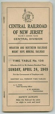 CNJ Central Railroad of New Jersey Employee Time Table April 24, 1949 No.136