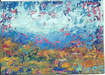 Original Abstract Acrylic Knife Fall Landscape Painting ACEO mini ART card small