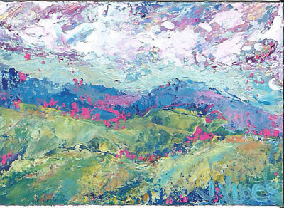 Original Abstract Acrylic Knife Mtns Clouds Landscape Painting ACEO ART SFA mini
