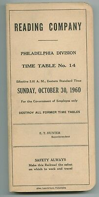 RDG Reading Company Railroad Employee Time Table October 30,1960 No.14 Phil. Div