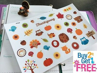 PP342 -- Autumn Thanksgiving Icons Planner Stickers for Erin Condren (39pcs)