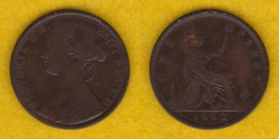Great Britain Victoria Bronze Penny 1862  ---  Qlcg