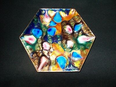 Vintage Colorful 6 Sided Cloisonne Dish