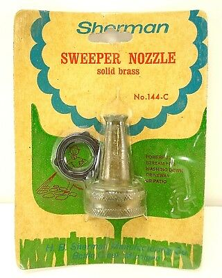 Vintage Sherman Solid Brass Sweeper Water Garden Hose Nozzle New USA No 144-C