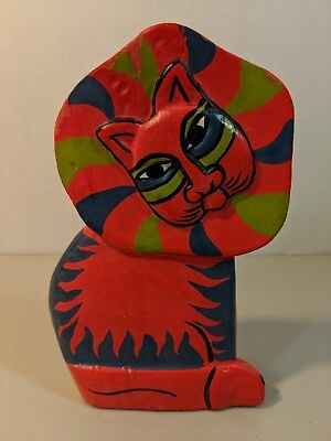 Laurel Burch RARE VINTAGE Lion Wooden Statue