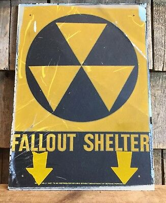"RARE Vintage Original Used FALLOUT SHELTER Reflective Sign 14""x10"""
