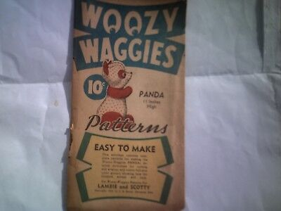 Antique Woozy Waggies Never Used Panda Bear Toy Pattern