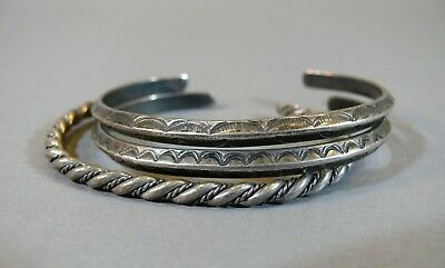 PAIR Antique Navajo Coin Silver Cuff Bracelet Native American Indian Jewelry