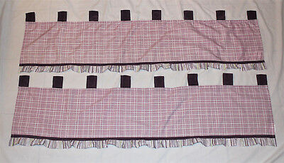 2 Girls CoCalo Baby Sugar Plum  Purple Stripe Plaid Tab Top Window Valance